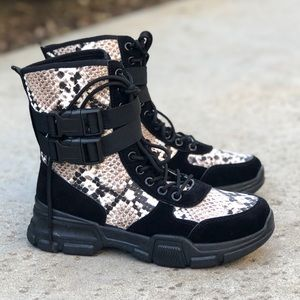 Retro Snake Print Sneaker Combat Boots